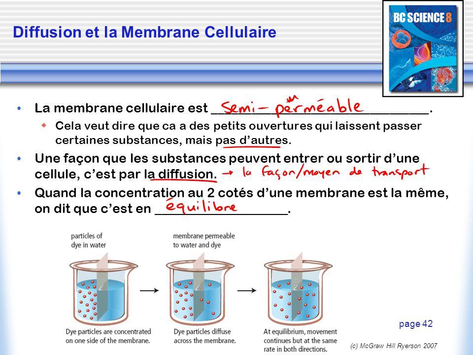 (c) McGraw Hill Ryerson 2007 Osmose ________________ est la diffusion deau à travers une membrane semi-perméable.