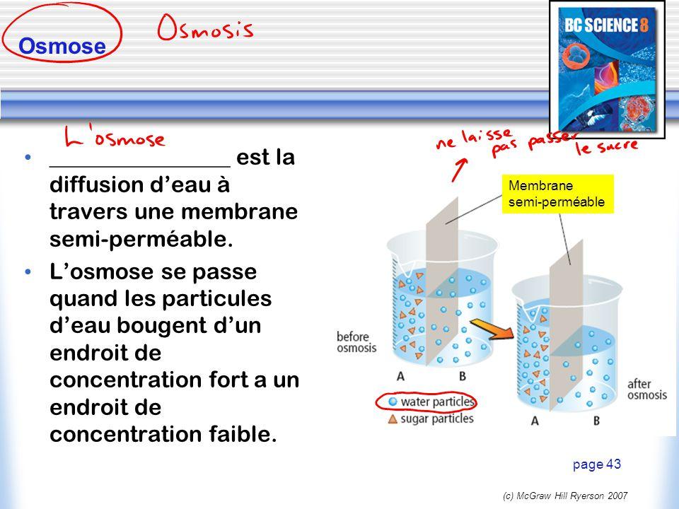 (c) McGraw Hill Ryerson 2007 Osmose ________________ est la diffusion deau à travers une membrane semi-perméable. Losmose se passe quand les particule