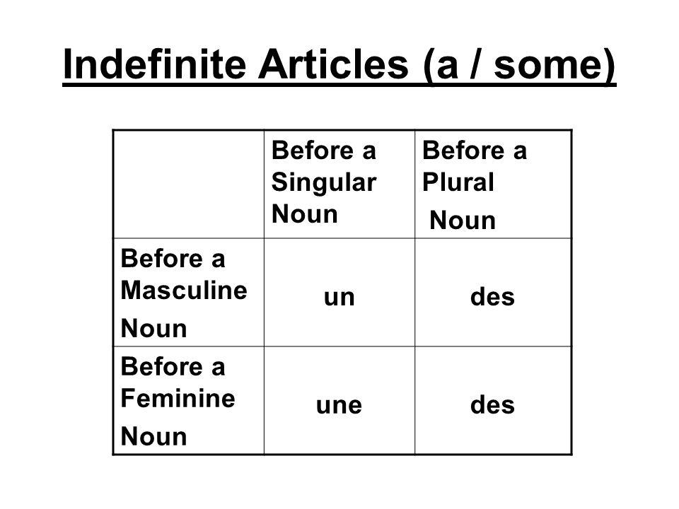 Before a Singular Noun Before a Plural Noun Before a Masculine Noun undes Before a Feminine Noun unedes Indefinite Articles (a / some)