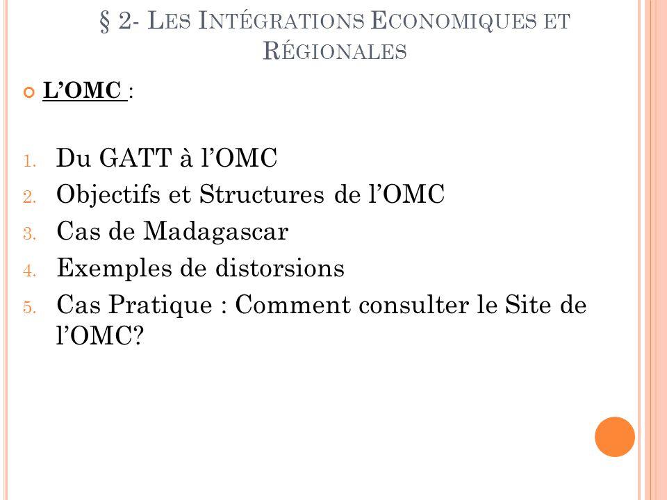 § 2- L ES I NTÉGRATIONS E CONOMIQUES ET R ÉGIONALES LOMC : 1. Du GATT à lOMC 2. Objectifs et Structures de lOMC 3. Cas de Madagascar 4. Exemples de di