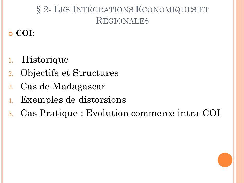 § 2- L ES I NTÉGRATIONS E CONOMIQUES ET R ÉGIONALES COI : 1. Historique 2. Objectifs et Structures 3. Cas de Madagascar 4. Exemples de distorsions 5.