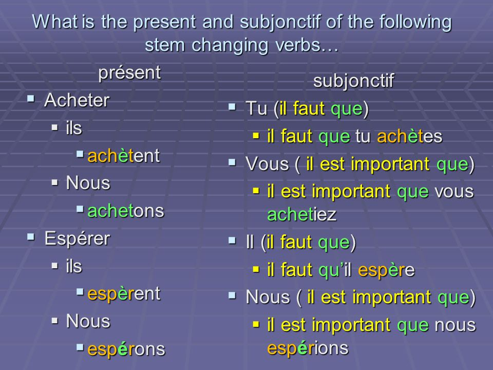 What is the present and subjonctif of the following stem changing verbs… présent Acheter Acheter ils ils achètent achètent Nous Nous achetons achetons