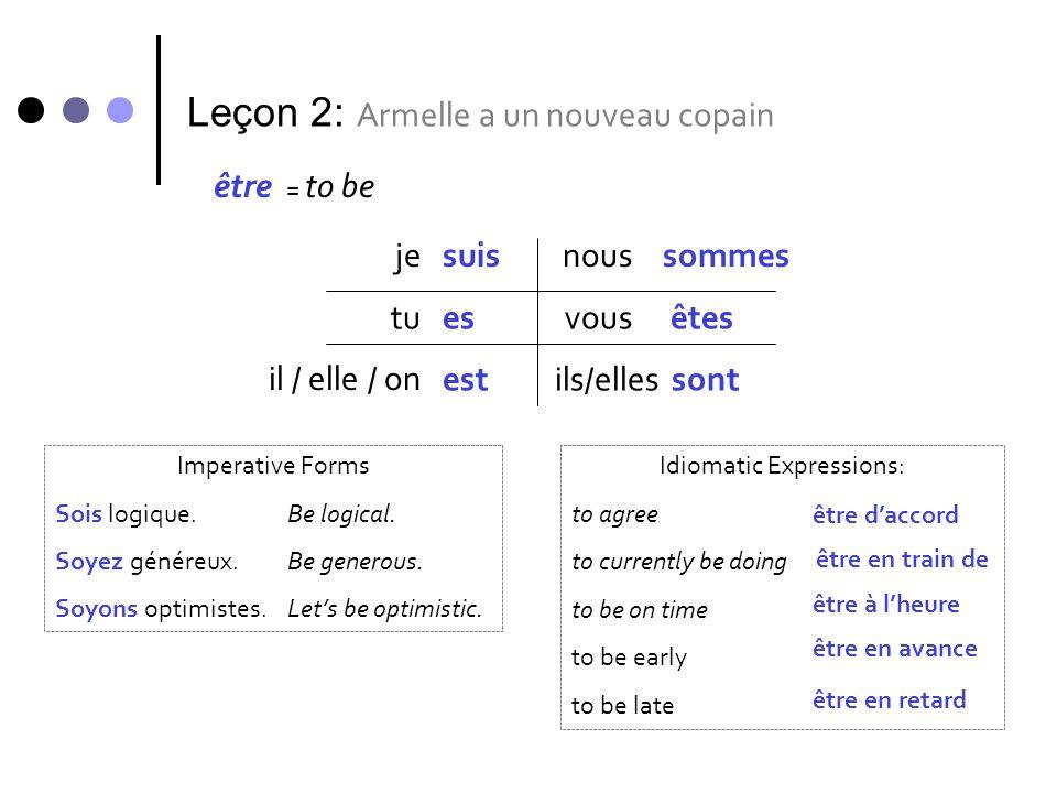 Leçon 2: Armelle a un nouveau copain être = to be jesuis tu il / elle / on nous vous ils/elles es est sommes êtes sont Imperative Forms Sois logique.