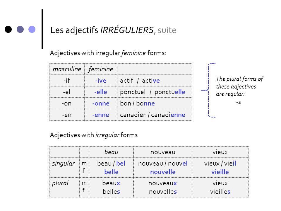 Les adjectifs IRRÉGULIERS, suite masculinefeminine -if-iveactif / active -el-elleponctuel / p0nctuelle -on-onnebon / bonne -en-ennecanadien / canadien