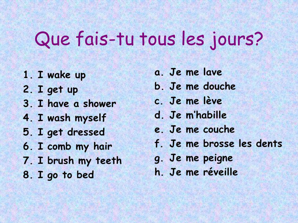 Que fais-tu tous les jours? 1.I wake up 2.I get up 3.I have a shower 4.I wash myself 5.I get dressed 6.I comb my hair 7.I brush my teeth 8.I go to bed
