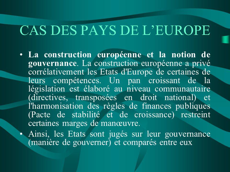 CAS DES PAYS DE LEUROPE La construction européenne et la notion de gouvernance.