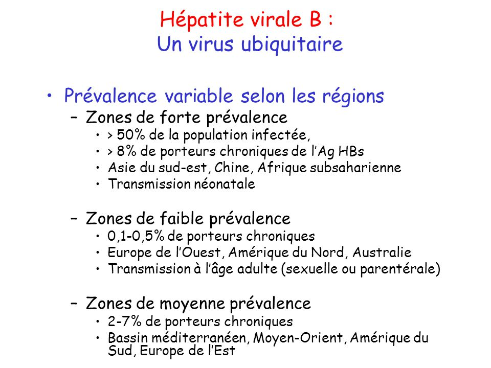 Hépatite virale B : Diagnostic indirect Réaction immunologique de lorganisme +++ Réaction immunologique de lorganisme +++ anti-HBc IgM Ac anti-HBc IgM : infection aiguë (+/- réplication) anti-HBc Totaux Ac anti-HBc Totaux (IgG) : marqueur le plus fidèle de linfection +++ anti-HBe Ac anti-HBe : premier verrou immunologique anti-HBs Ac anti-HBs : marqueur de résolution et de protection
