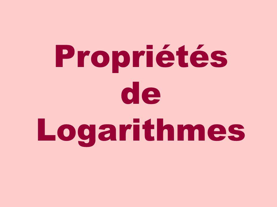 Propriétés de Logarithmes