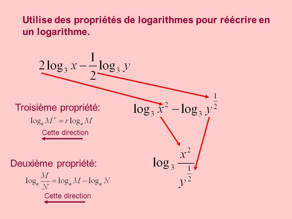 Utilise des propriétés de logarithmes pour réécrire en un logarithme. Troisième propriété: Deuxième propriété: Cette direction