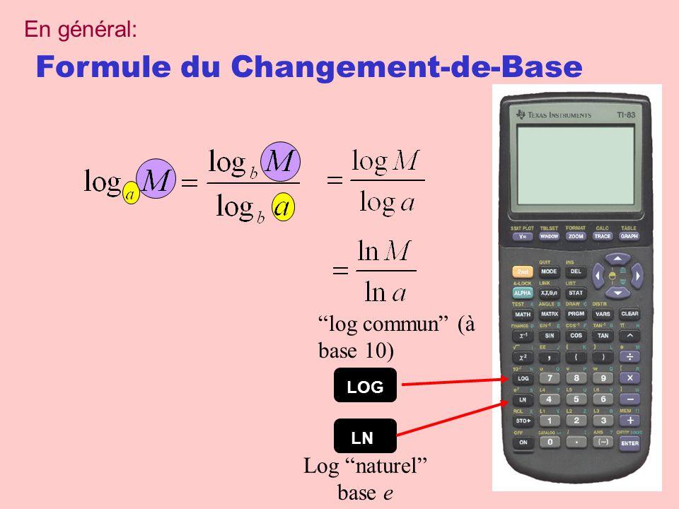 Formule du Changement-de-Base LOG log commun (à base 10) LN Log naturel base e En général: