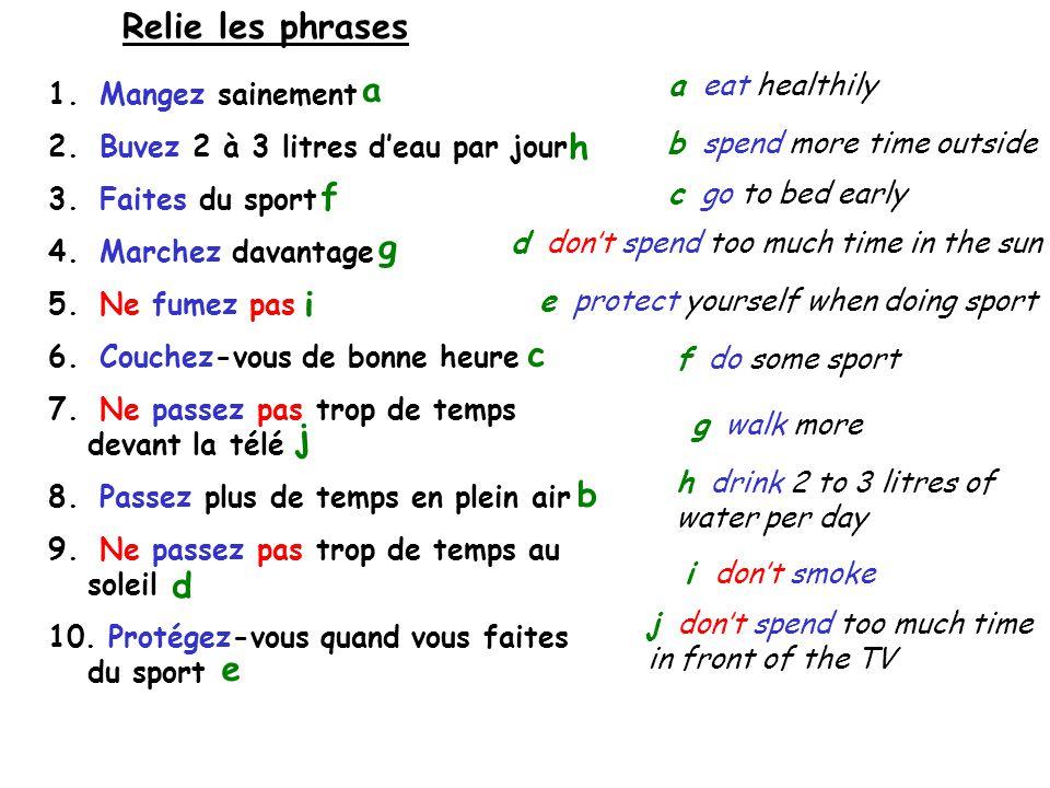 Copie les phrases et complète les blancs 1.……………………… sainement 2.