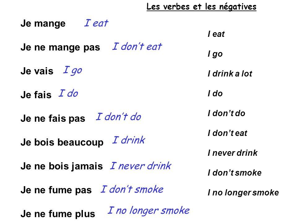 Je mange Je ne mange pas Je vais Je fais Je ne fais pas Je bois beaucoup Je ne bois jamais Je ne fume pas Je ne fume plus I eat I go I drink a lot I d
