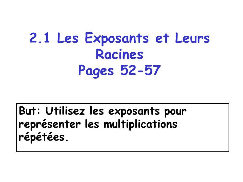 Les Definitions Exemple: La racine carrée de 16 est 4 parce que 4 x 4 = 16 La racine est le nombre qui est multiplié.