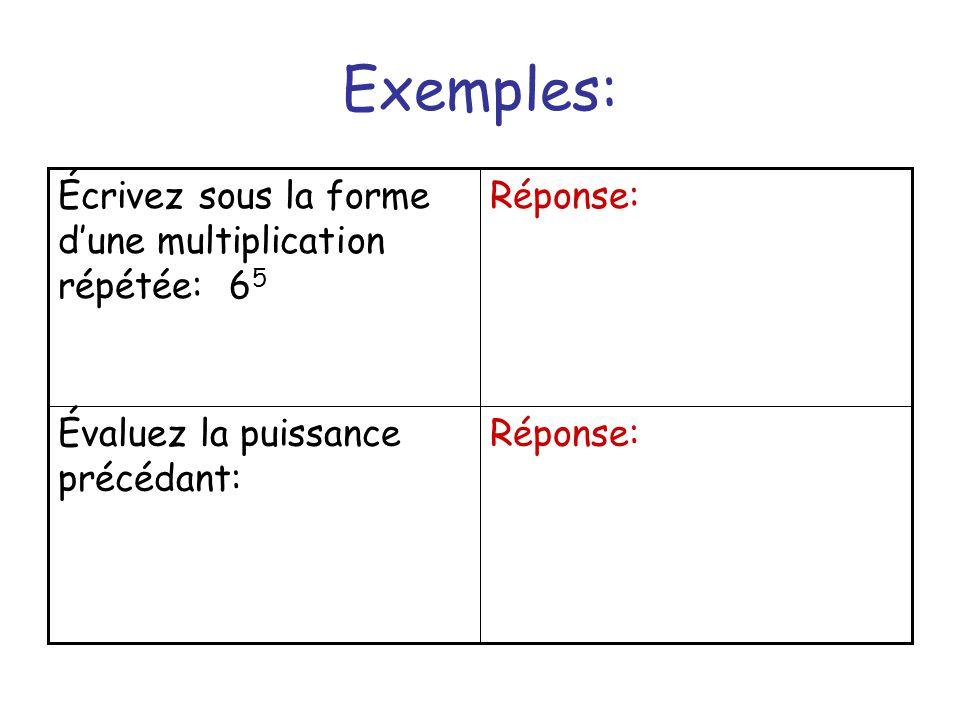Exemple: La base doit être ___et lindice doit être ____parce que ______ _________________ Écrivez 25 sous la forme dune puissance de 5.