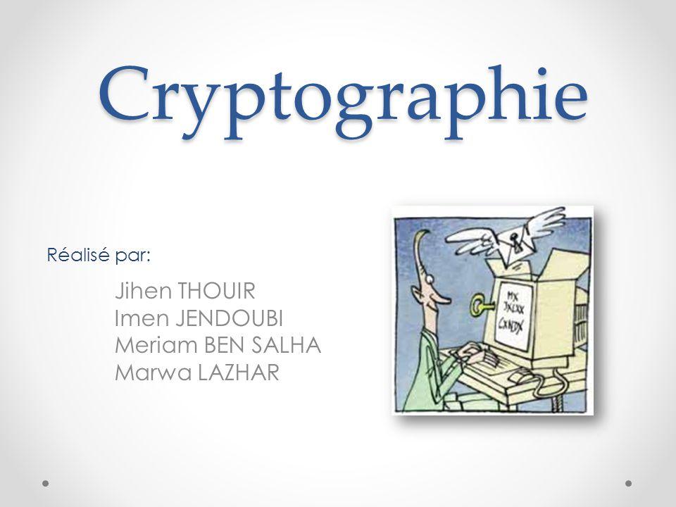 Cryptographie Réalisé par: Jihen THOUIR Imen JENDOUBI Meriam BEN SALHA Marwa LAZHAR