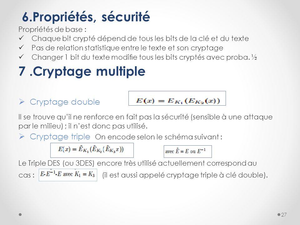 6.Propriétés, sécurité Propriétés de base : Chaque bit crypté dépend de tous les bits de la clé et du texte Pas de relation statistique entre le texte