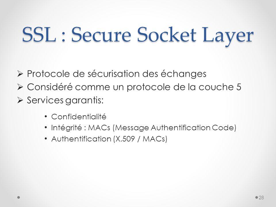 SSL : Secure Socket Layer Protocole de sécurisation des échanges Considéré comme un protocole de la couche 5 Services garantis: Confidentialité Intégr