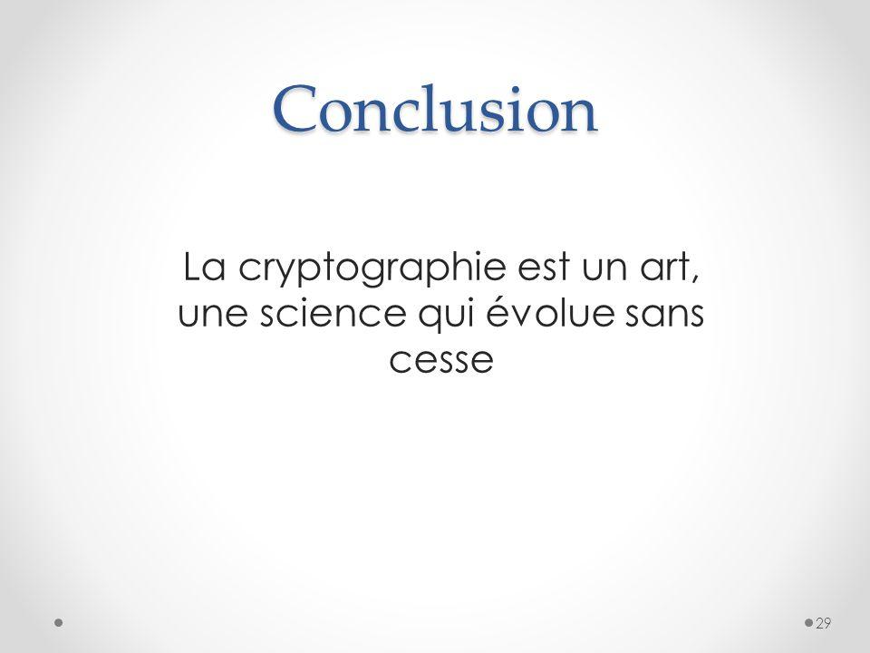 Conclusion La cryptographie est un art, une science qui évolue sans cesse 29