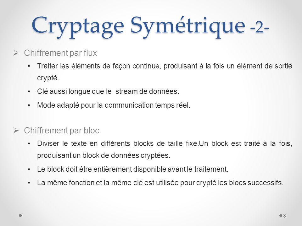 Cryptage Symétrique -2- Chiffrement par flux Traiter les éléments de façon continue, produisant à la fois un élément de sortie crypté. Clé aussi longu