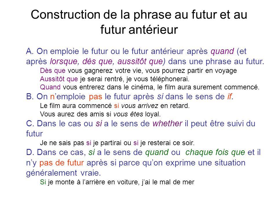 Construction de la phrase au futur et au futur antérieur A. On emploie le futur ou le futur antérieur après quand (et après lorsque, dès que, aussitôt