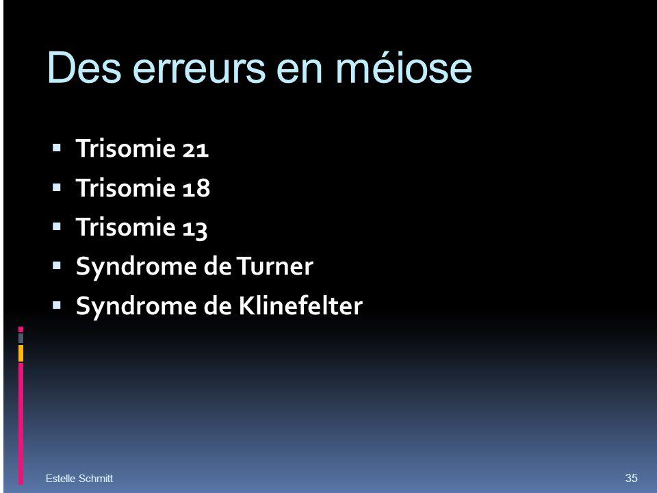 Des erreurs en méiose Trisomie 21 Trisomie 18 Trisomie 13 Syndrome de Turner Syndrome de Klinefelter Estelle Schmitt 35