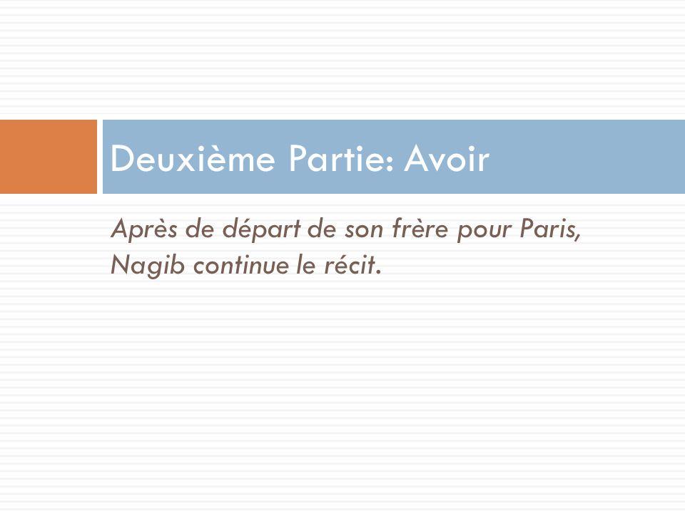 Après de départ de son frère pour Paris, Nagib continue le récit. Deuxième Partie: Avoir