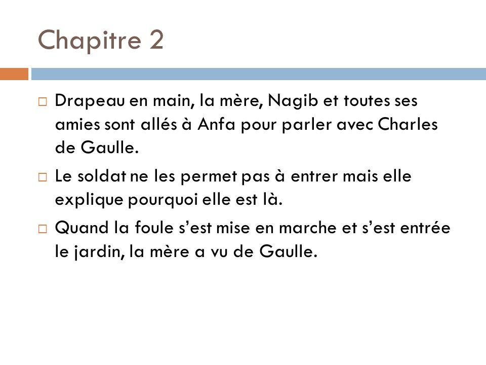 Chapitre 2 Drapeau en main, la mère, Nagib et toutes ses amies sont allés à Anfa pour parler avec Charles de Gaulle. Le soldat ne les permet pas à ent