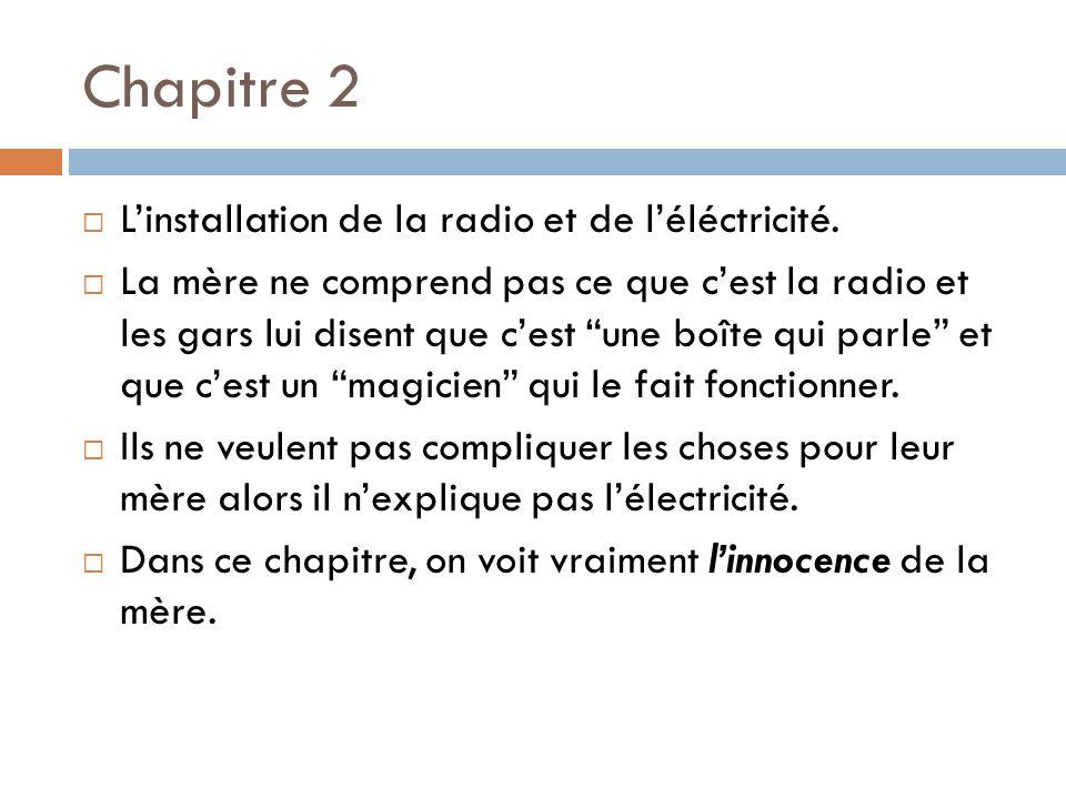 Chapitre 2 Linstallation de la radio et de léléctricité. La mère ne comprend pas ce que cest la radio et les gars lui disent que cest une boîte qui pa