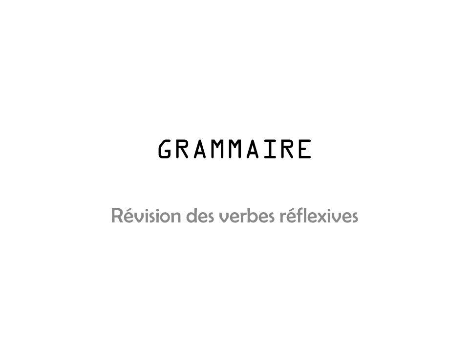 GRAMMAIRE Révision des verbes réflexives