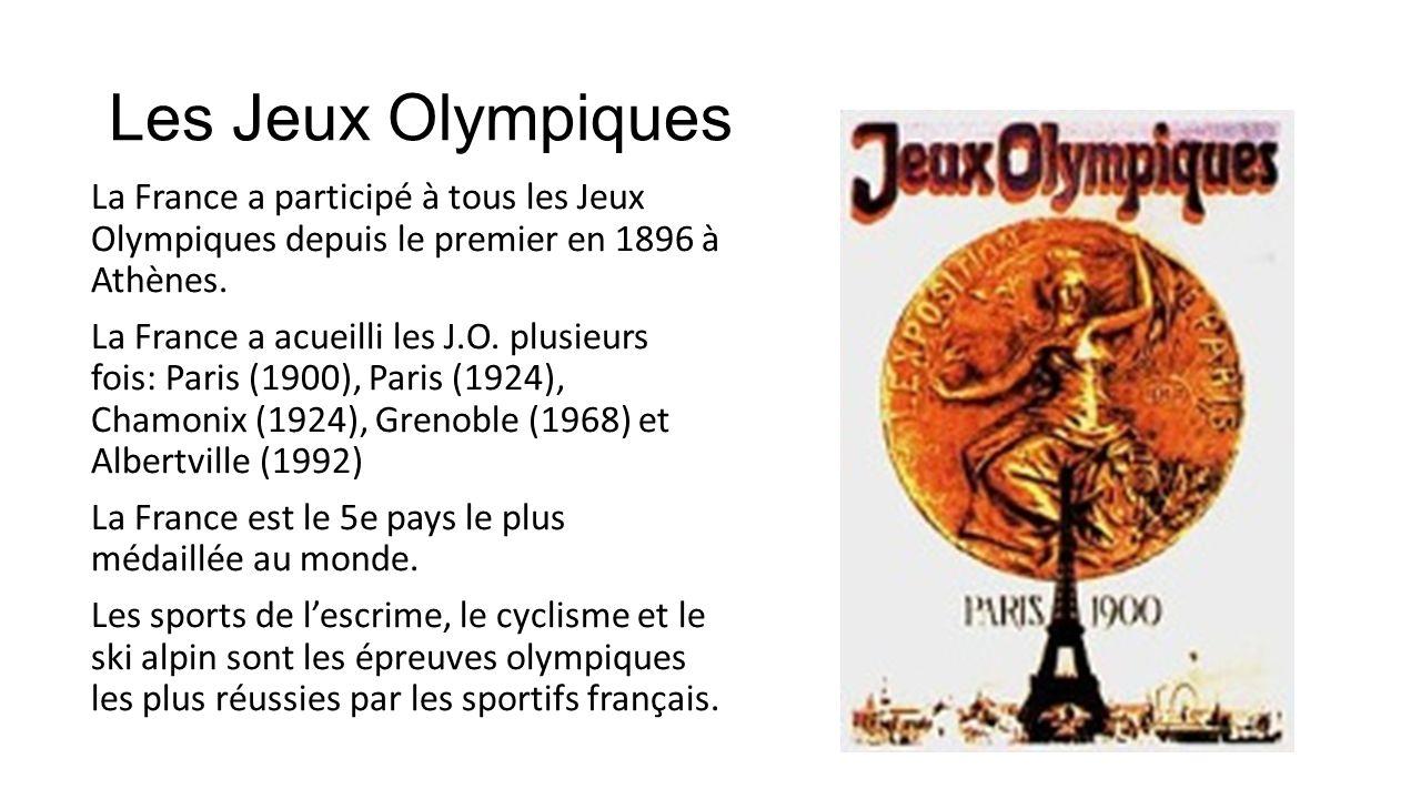 Les Jeux Olympiques La France a participé à tous les Jeux Olympiques depuis le premier en 1896 à Athènes. La France a acueilli les J.O. plusieurs fois