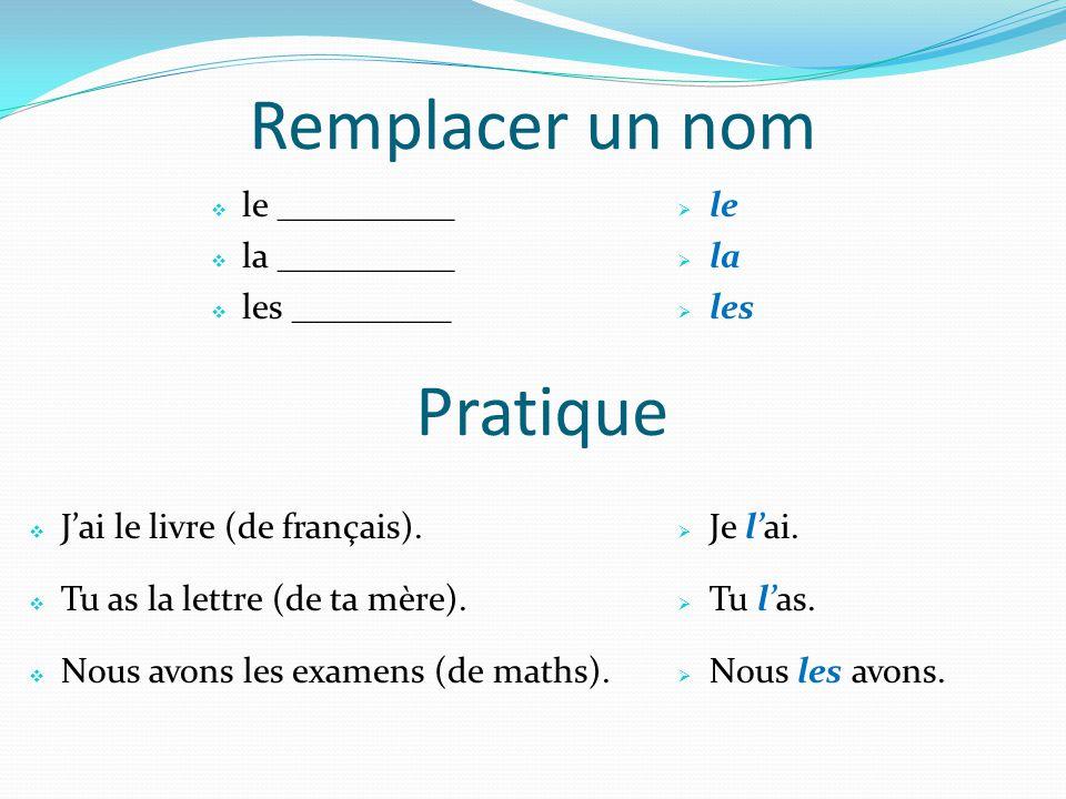Remplacer un nom le __________ la __________ les _________ Jai le livre (de français). Tu as la lettre (de ta mère). Nous avons les examens (de maths)