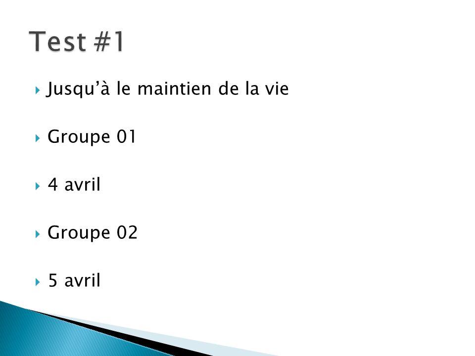 Jusquà le maintien de la vie Groupe 01 4 avril Groupe 02 5 avril