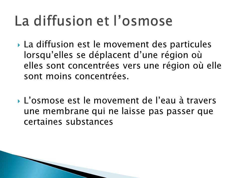 La diffusion est le movement des particules lorsquelles se déplacent dune région où elles sont concentrées vers une région où elle sont moins concentr