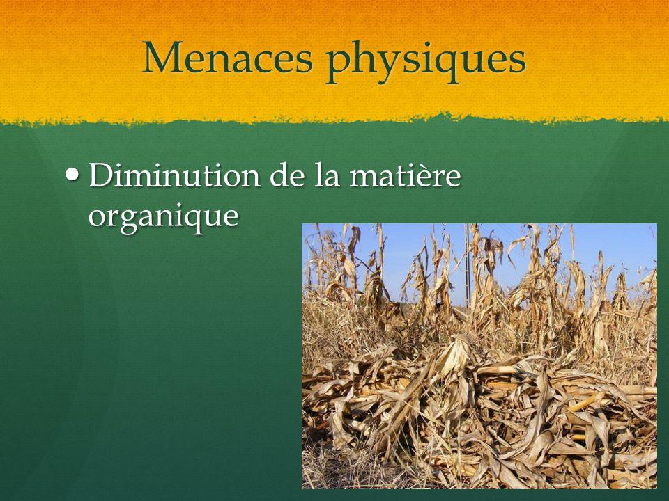 Menaces physiques Diminution de la matière organique Diminution de la matière organique