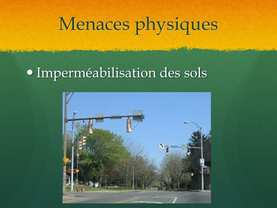Menaces physiques Imperméabilisation des sols Imperméabilisation des sols