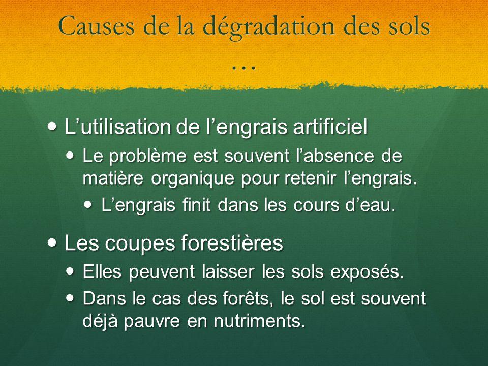 Causes de la dégradation des sols … Lutilisation de lengrais artificiel Lutilisation de lengrais artificiel Le problème est souvent labsence de matièr