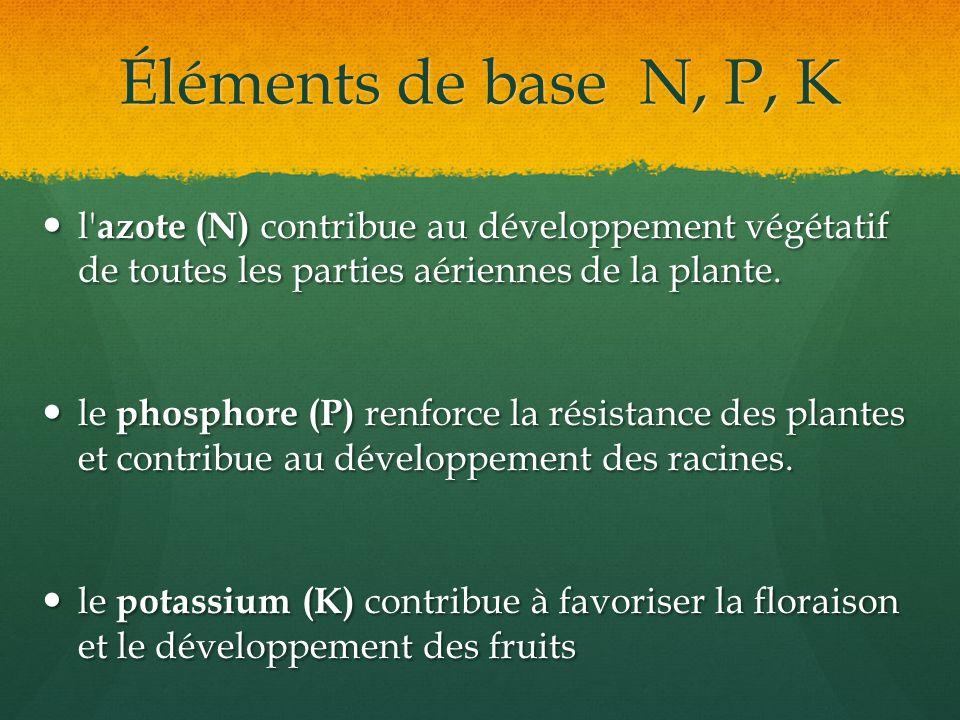 Éléments de base N, P, K l' azote (N) contribue au développement végétatif de toutes les parties aériennes de la plante. l' azote (N) contribue au dév