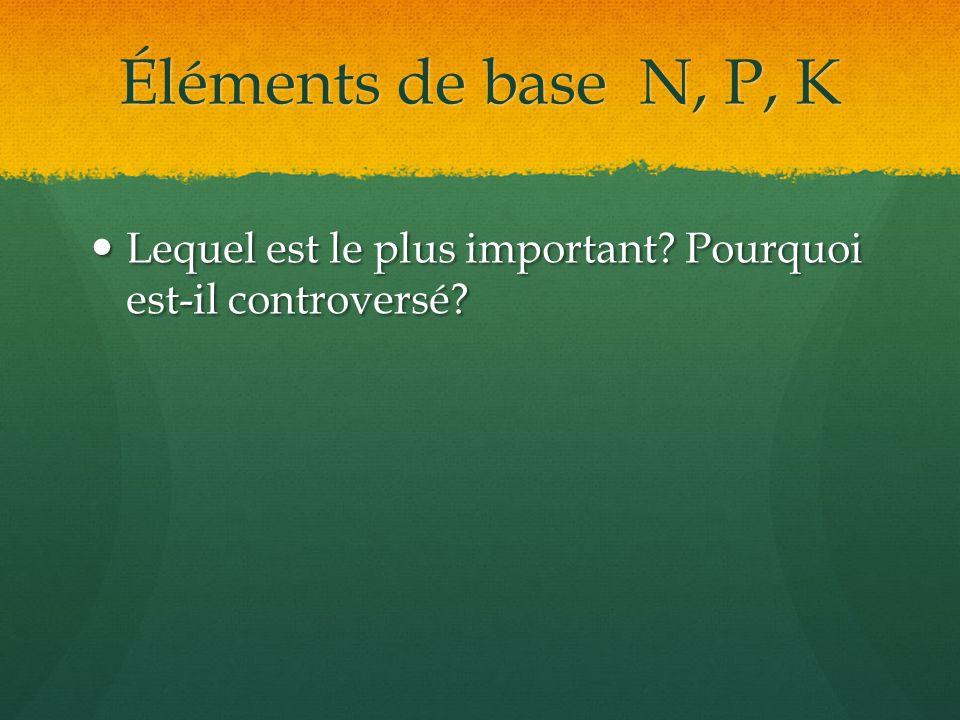 Éléments de base N, P, K Lequel est le plus important? Pourquoi est-il controversé? Lequel est le plus important? Pourquoi est-il controversé?