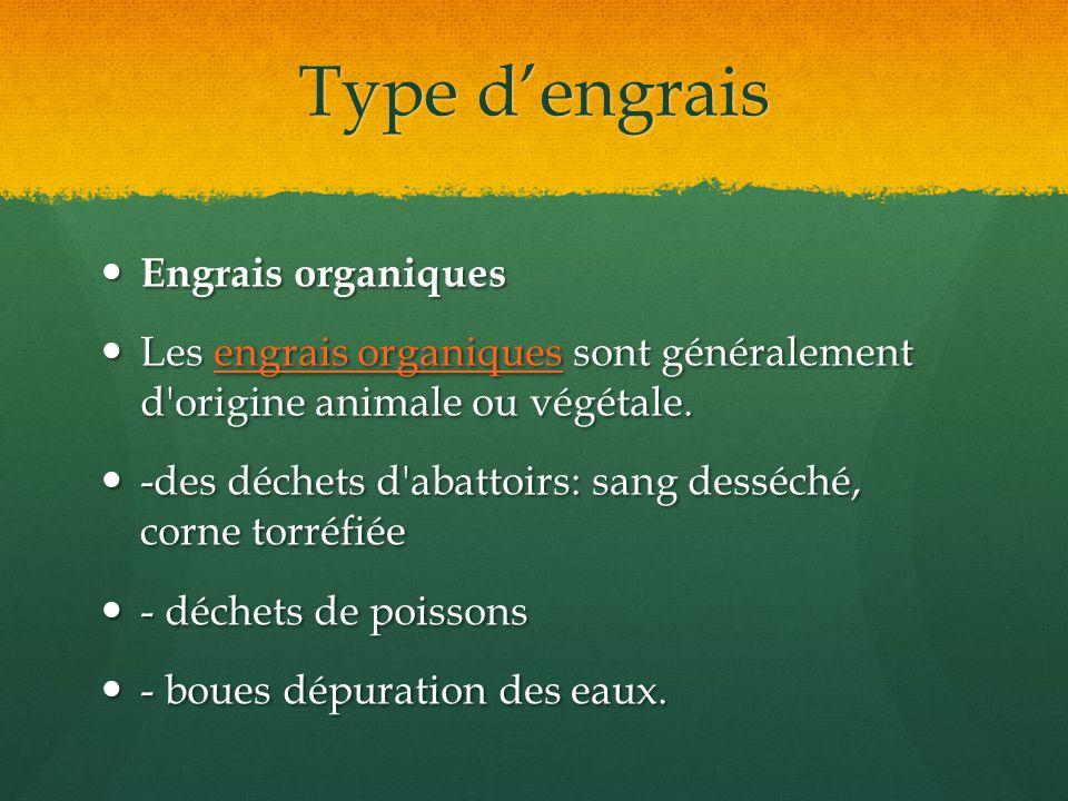 Type dengrais Engrais organiques Engrais organiques Les engrais organiques sont généralement d'origine animale ou végétale. Les engrais organiques son