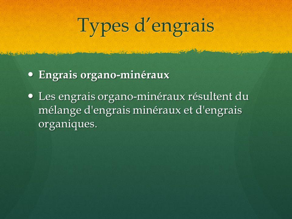 Types dengrais Engrais organo-minéraux Engrais organo-minéraux Les engrais organo-minéraux résultent du mélange d'engrais minéraux et d'engrais organi
