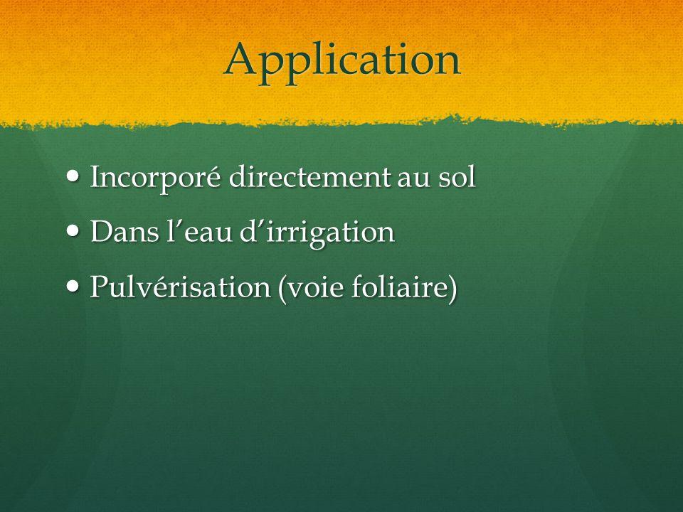 Application Incorporé directement au sol Incorporé directement au sol Dans leau dirrigation Dans leau dirrigation Pulvérisation (voie foliaire) Pulvér