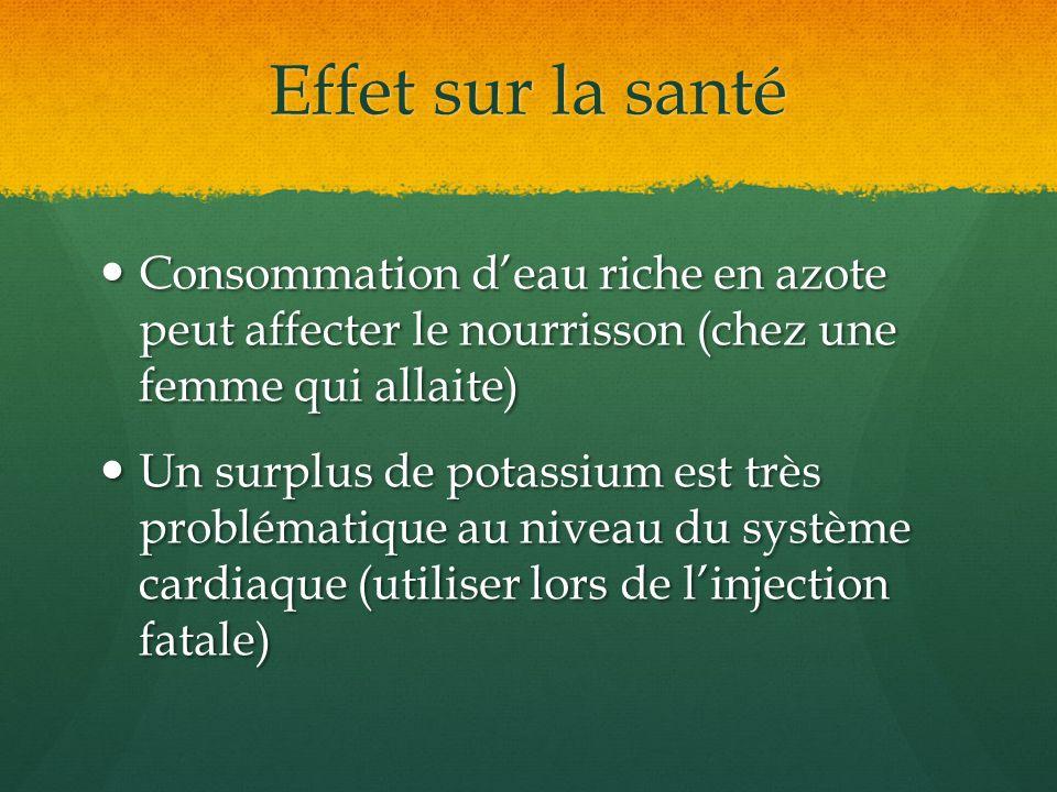 Effet sur la santé Consommation deau riche en azote peut affecter le nourrisson (chez une femme qui allaite) Consommation deau riche en azote peut aff
