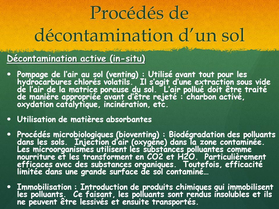 Procédés de décontamination dun sol Décontamination active (in-situ) Pompage de lair au sol (venting) : Utilisé avant tout pour les hydrocarbures chlo