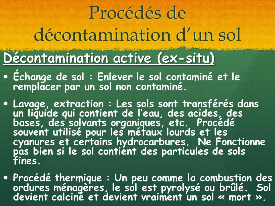 Procédés de décontamination dun sol Décontamination active (ex-situ) Échange de sol : Enlever le sol contaminé et le remplacer par un sol non contamin