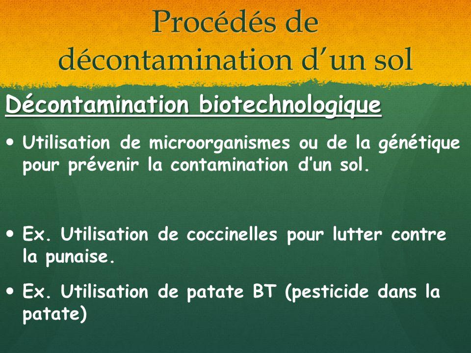 Procédés de décontamination dun sol Décontamination biotechnologique Utilisation de microorganismes ou de la génétique pour prévenir la contamination