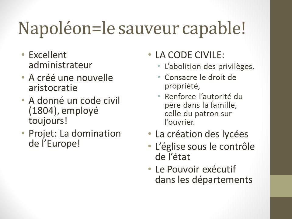 Napoléon=le sauveur capable! Excellent administrateur A créé une nouvelle aristocratie A donné un code civil (1804), employé toujours! Projet: La domi