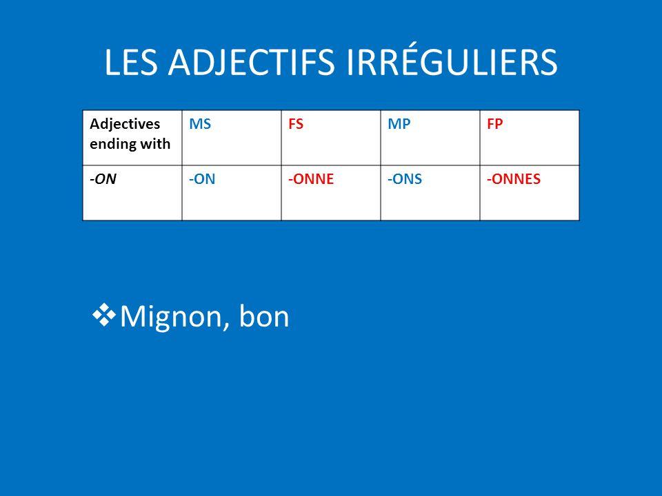 LES ADJECTIFS IRRÉGULIERS Mignon, bon Adjectives ending with MSFSMPFP -ON -ONNE-ONS-ONNES