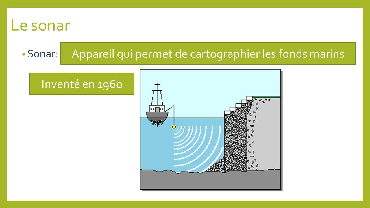 Le sonar Sonar: Appareil qui permet de cartographier les fonds marins Inventé en 1960