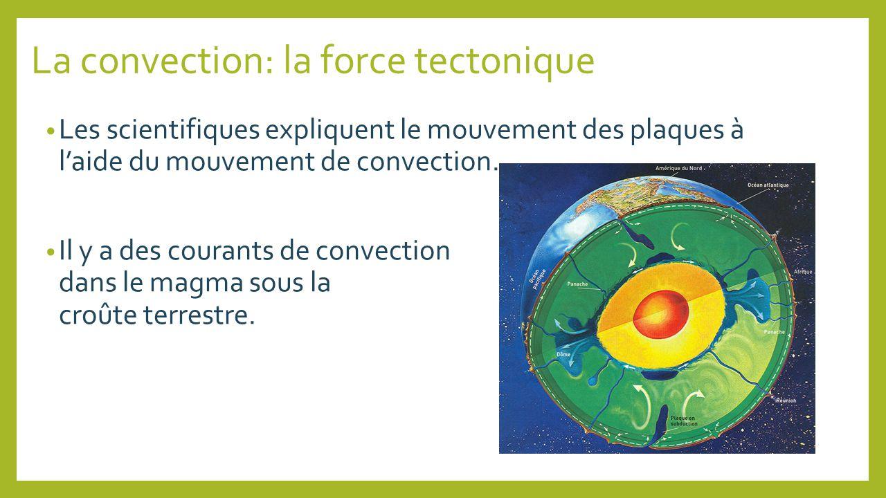La convection: la force tectonique Les scientifiques expliquent le mouvement des plaques à laide du mouvement de convection. Il y a des courants de co