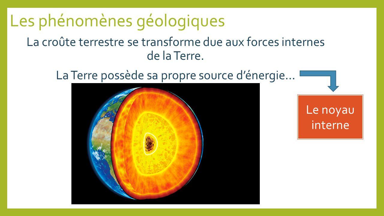 Les phénomènes géologiques La croûte terrestre se transforme due aux forces internes de la Terre. La Terre possède sa propre source dénergie… Le noyau